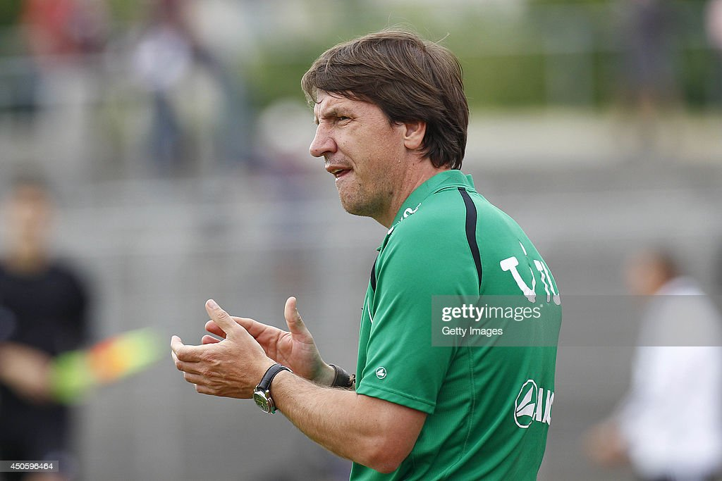 Daniel Stendel of Hannover reacts during the A Juniors Bundesliga Semi Final between U19 VfL Wolfsburg and U19 Hannover 96 at Stadion am Elsterweg on June 14, 2014 in Wolfsburg, Germany.