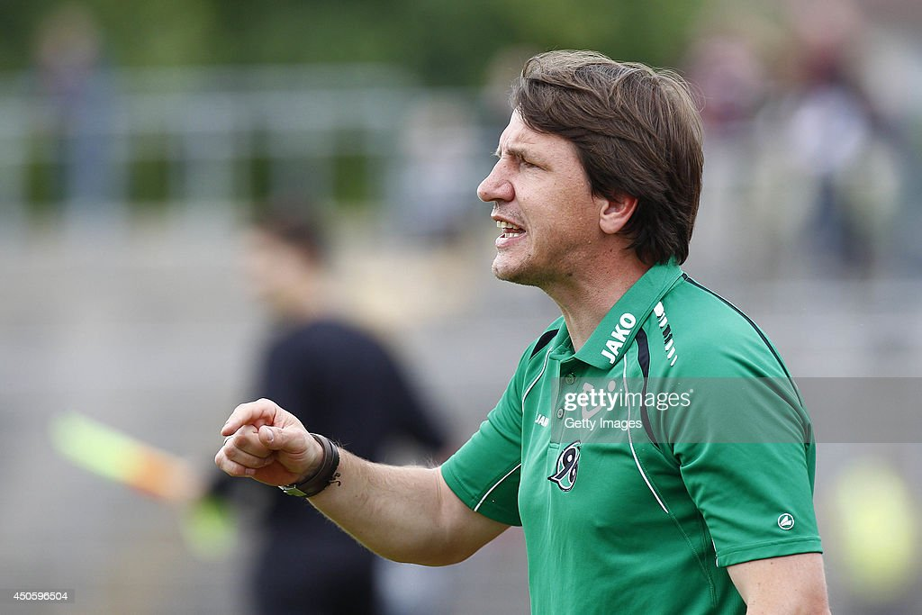 Daniel Stendel of Hannover reacts during the A Juniors Bundesliga Semi Final between U19 VfL Wolfsburg and U19 Hannover 96 at Stadion am Elsterweg on June 14, 2014 in Wolfsburg, Germany.