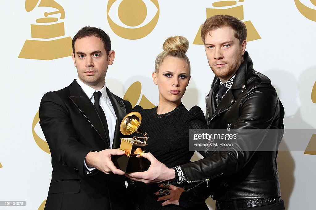 Daniel Stephens, Alana Watson and Joseph Ray, winners of Best Remixed Recording, Non-Classical for 'Promises' pose in the press room at the 55th Annual GRAMMY Awards at Staples Center on February 10, 2013 in Los Angeles, California.