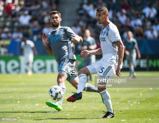 Daniel Steres of Los Angeles Galaxy during Los Angeles Galaxy's MLS match against Seattle Sounders at the StubHub Center on April 23 2017 in Carson...
