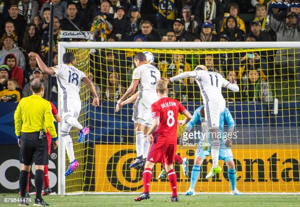 Daniel Steres of Los Angeles Galaxy heads the ball during Los Angeles Galaxy's MLS match against Chicago Fire at the StubHub Center on May 6 2017 in...