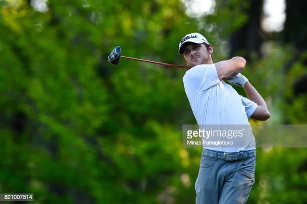 Daniel Stringfellow hits his tee on the first hole during round three of the Mackenzie Investments Open at Club de Golf Les Quatre Domaines on July...