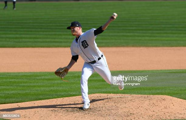 Daniel Stumpf of the Detroit Tigers pitches during the game against the Oakland Athletics at Comerica Park on September 20 2017 in Detroit Michigan...
