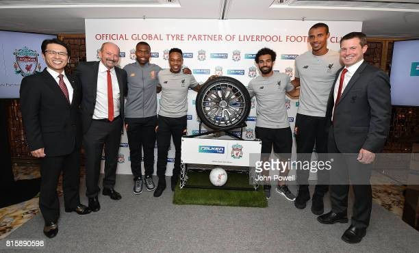 Daniel Sturrdge Nathaniel Clyne Joel Matip Mohamed Salah of Liverpool Peter Moore CEO of Liverpool Billy Hogan Cheif Comercial Officer Liverpoool and...