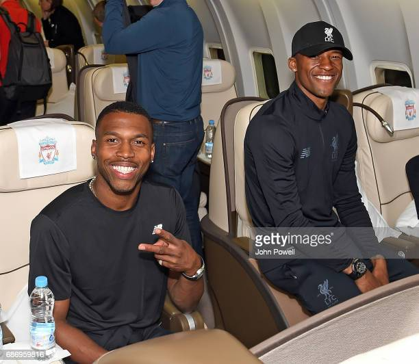 Daniel Sturridge and Georginio Wijnaldum of Liverpool on the plane to Australia at Melwood Training Ground on May 22 2017 in Liverpool England