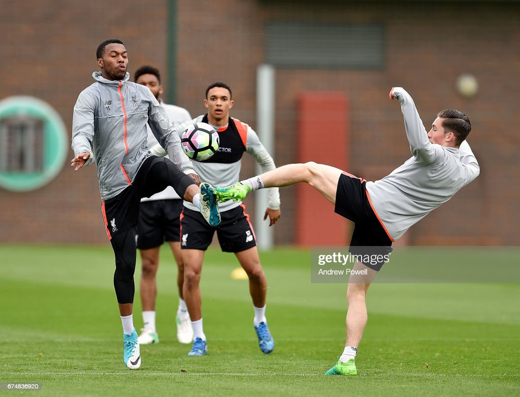 Daniel Sturridge and Harry Wilson of Liverpool during a training session at Melwood Training Ground on April 29, 2017 in Liverpool, England.