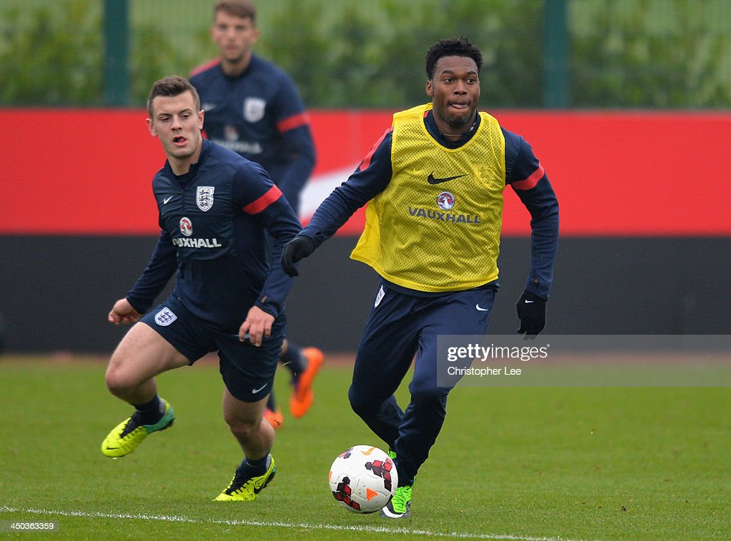 Daniel Sturridge and Jack Wilshere in action during England Training at London Colney on November 18, 2013 in St Albans, England.