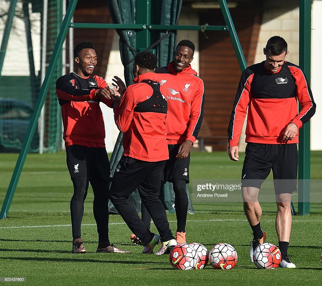 Daniel Sturridge and Jordon Ibe of Liverpool during a training session at Melwood Training Ground on April 19, 2016 in Liverpool, England.