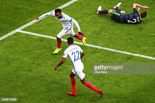 Daniel Sturridge and Marcus Rashford of England celebrate England's second goal during the UEFA EURO 2016 Group B match between England and Wales at...