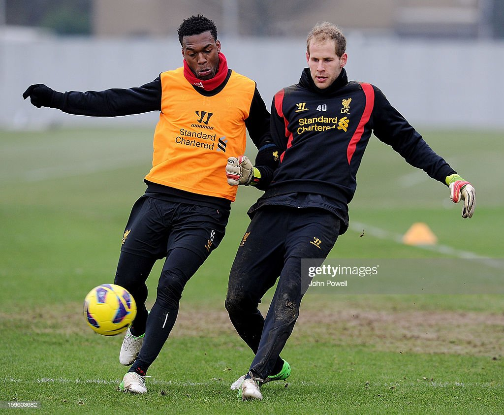 Daniel Sturridge and Peter Gulacsi of Liverpool in action during a training session at Melwood Training Ground on January 17, 2013 in Liverpool, England.