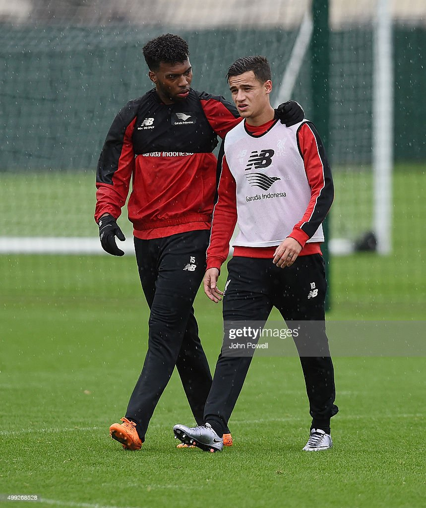 Daniel Sturridge and Philippe Coutinho of Liverpool during a training session at Melwood Training Ground on November 30, 2015 in Liverpool, England.