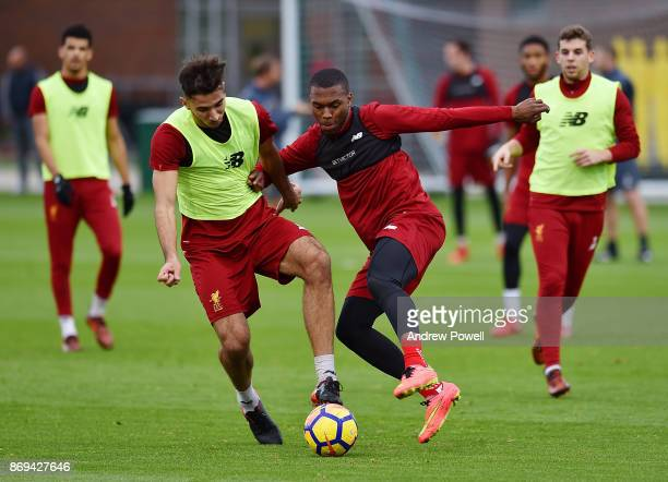 Daniel Sturridge battles with Marko Grujic of Liverpool during a training session at Melwood Training Ground on November 2 2017 in Liverpool England