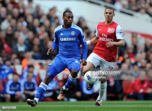 Daniel Sturridge of Chelsea and Kieron Gibbs of Arsenal in action during the Barclays Premier League match at the Emirates Stadium on April 21 2012...