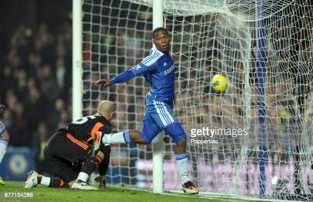 Daniel Sturridge of Chelsea celebrates after scoring during the Barclays Premier League match between Chelsea and Liverpool at Stamford Bridge on...