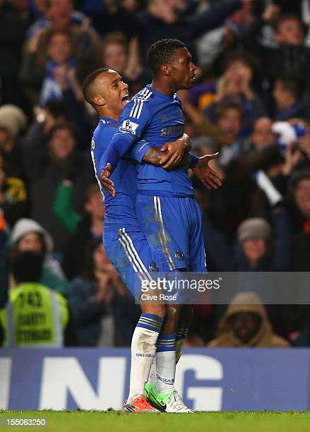 Daniel Sturridge of Chelsea celebrates his goal with Ryan Bertrand during the Capital One Cup Fourth Round match between Chelsea and Manchester...