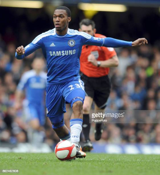 Daniel Sturridge of Chelsea in action during the FA Cup 6th Round match between Chelsea and Leicester City at Stamford Bridge on March 18 2012 in...