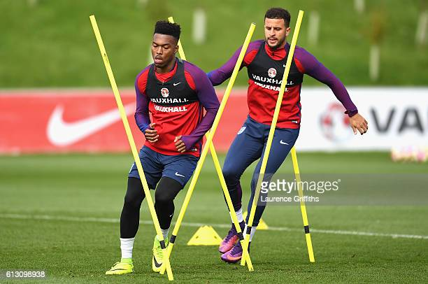 Daniel Sturridge of England and Kyle Walker of England warm up during an England training session ahead of the FIFA 2018 World Cup Group F Qualifier...
