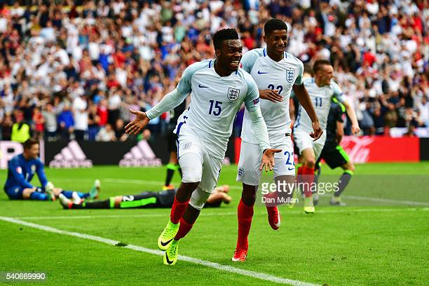 Daniel Sturridge of England and Marcus Rashford of England celebrate England's second goal during the UEFA EURO 2016 Group B match between England...
