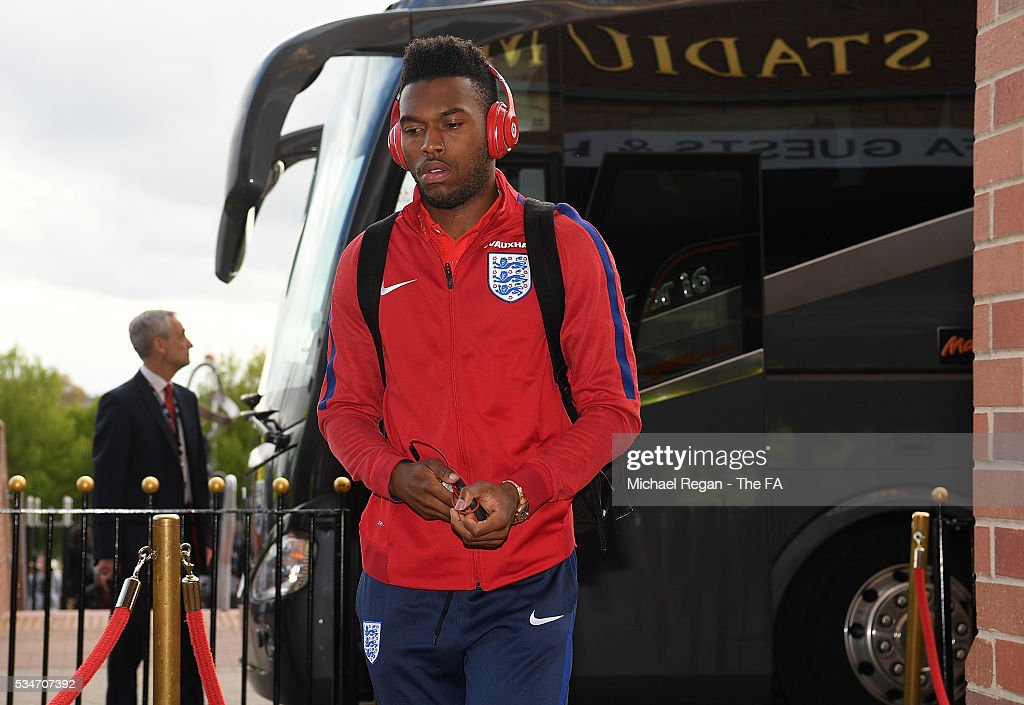 <a gi-track='captionPersonalityLinkClicked' href=/galleries/search?phrase=Daniel+Sturridge+-+Soccer+Player&family=editorial&specificpeople=677270 ng-click='$event.stopPropagation()'>Daniel Sturridge</a> of England arrives at the ground ahead of the International Friendly match between England and Australia at Stadium of Light on May 27, 2016 in Sunderland, England.