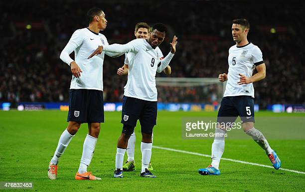 Daniel Sturridge of England celebrates his goal with team mates during the International Friendly match between England and Denmark at Wembley...