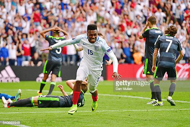 Daniel Sturridge of England celebrates scoring his team's second goal during the UEFA EURO 2016 Group B match between England and Wales at Stade...