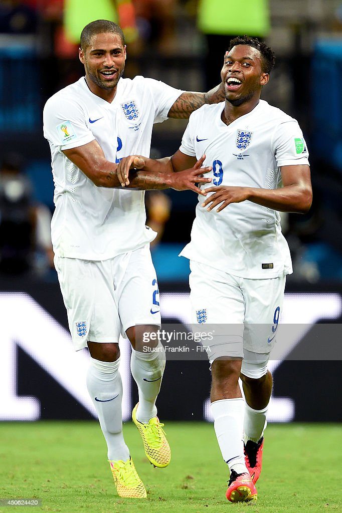 Daniel Sturridge of England (R) celebrates with Glen Johnson of England after scoring the team's first goal during the 2014 FIFA World Cup Brazil Group D match between England and Italy at Arena Amazonia on June 14, 2014 in Manaus, Brazil.