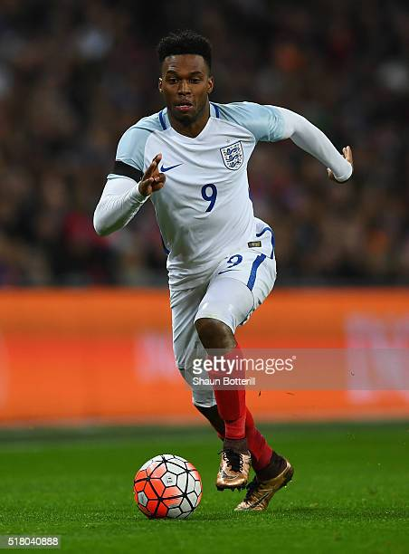 Daniel Sturridge of England controls the ball during the International Friendly match between England and Netherlands at Wembley Stadium on March 29...