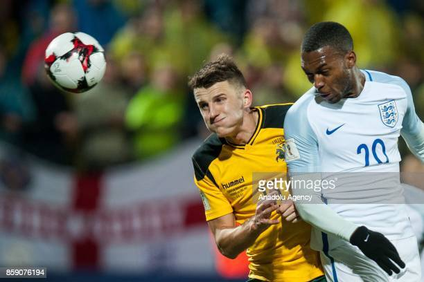 Daniel Sturridge of England in action against Edvinas Girdvainis during the 2018 FIFA World Cup European Qualification football match between England...