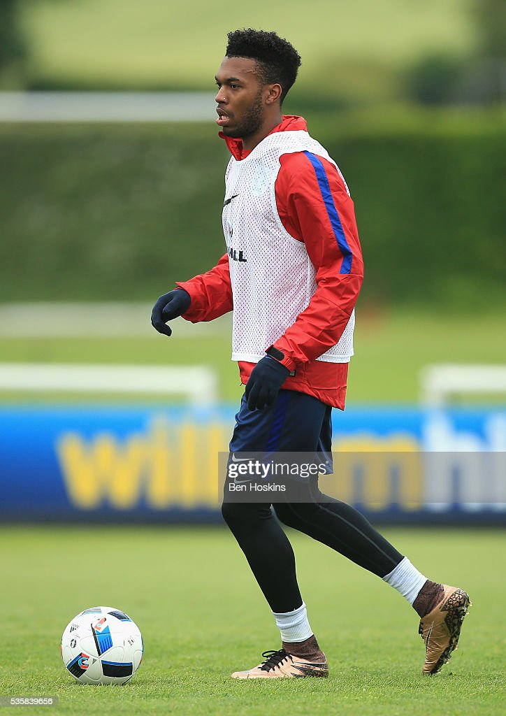<a gi-track='captionPersonalityLinkClicked' href=/galleries/search?phrase=Daniel+Sturridge&family=editorial&specificpeople=677270 ng-click='$event.stopPropagation()'>Daniel Sturridge</a> of England in action during an England training session at London Colney on May 30, 2016 near St Albans, England.