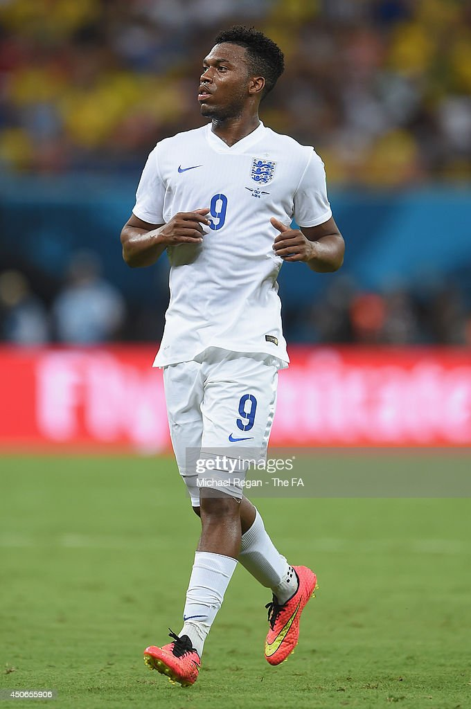 <a gi-track='captionPersonalityLinkClicked' href=/galleries/search?phrase=Daniel+Sturridge&family=editorial&specificpeople=677270 ng-click='$event.stopPropagation()'>Daniel Sturridge</a> of England in action during the 2014 FIFA World Cup Brazil Group D match between England and Italy at Arena Amazonia on June 14, 2014 in Manaus, Brazil.
