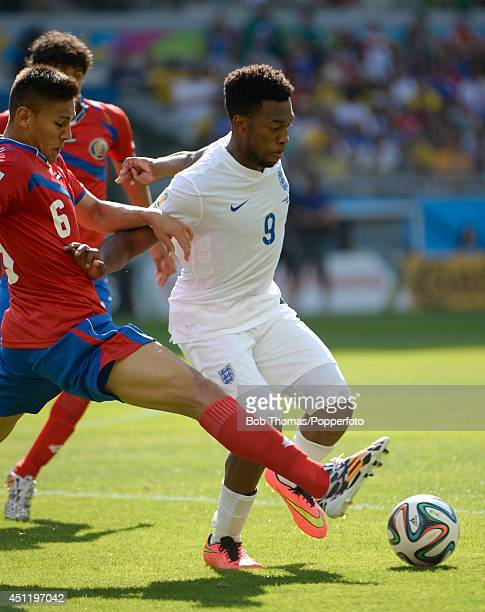 Daniel Sturridge of England is challenged by Oscar Duarte of Costa Rica during the 2014 FIFA World Cup Brazil Group D match between Costa Rica and...