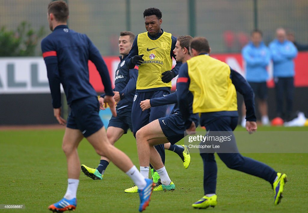 Daniel Sturridge of England reacts during a England Training session at London Colney on November 18, 2013 in St Albans, England.