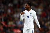 Daniel Sturridge of England reacts during the International friendly match between England and Norway at Wembley Stadium on September 3 2014 in...