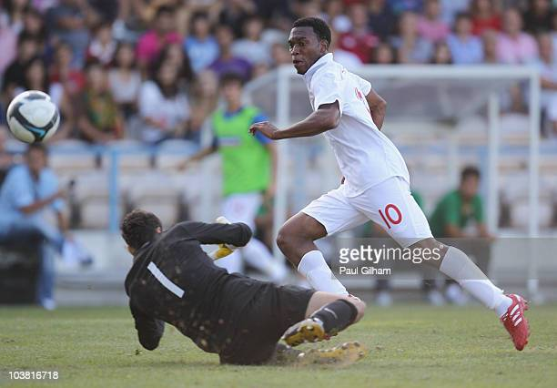 Daniel Sturridge of England scores the first goal for England during the UEFA U21 Championship qualifying match between Portugal U21's and England...