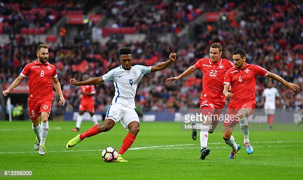 Daniel Sturridge of England shoots on goal during the FIFA 2018 World Cup Qualifier Group F match between England and Malta at Wembley Stadium on...