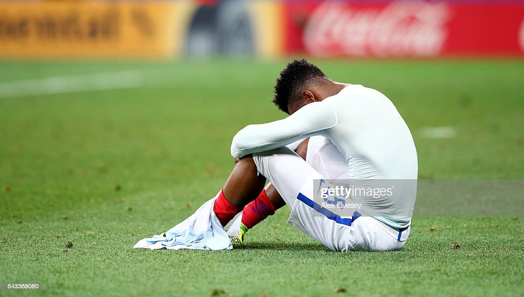 <a gi-track='captionPersonalityLinkClicked' href=/galleries/search?phrase=Daniel+Sturridge+-+Soccer+Player&family=editorial&specificpeople=677270 ng-click='$event.stopPropagation()'>Daniel Sturridge</a> of England shows his dejection after his team's 1-2 defeat in the UEFA EURO 2016 round of 16 match between England and Iceland at Allianz Riviera Stadium on June 27, 2016 in Nice, France.