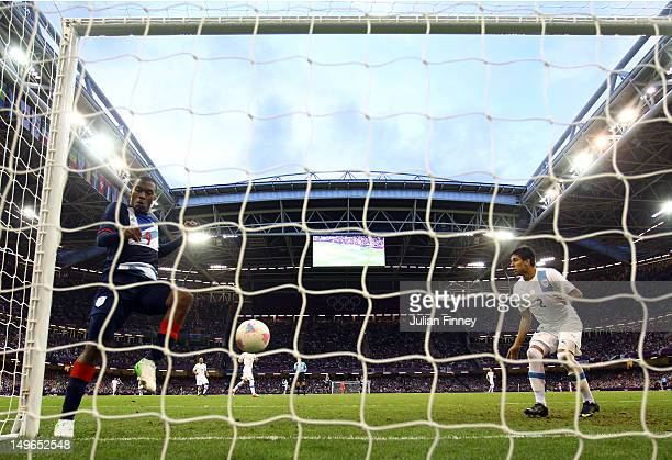 Daniel Sturridge of Great Britain fails to score an open goal during the Men's Football first round Group A match between Great Britain and Uruguay...