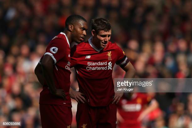 Daniel Sturridge of Liverpool and James Milner of Liverpool looks on during the Premier League match between Liverpool and Crystal Palace at Anfield...