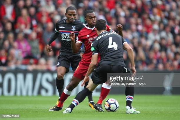 Daniel Sturridge of Liverpool and Jason Puncheon of Crystal Palace during the Premier League match between Liverpool and Crystal Palace at Anfield on...
