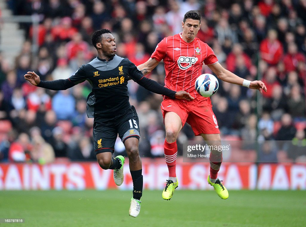 Daniel Sturridge of Liverpool and Jose Fonte of Southampton compete for the ball during the Barclays Premier League match between Southampton and Liverpool at St Mary's Stadium on March 16, 2013 in Southampton, England.