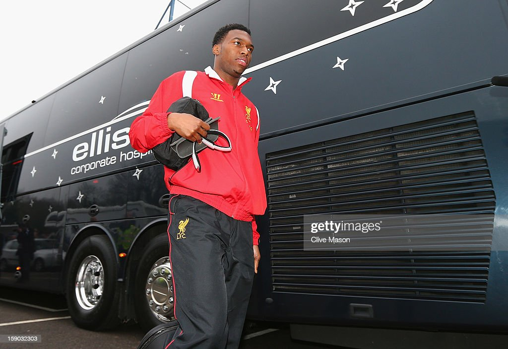 <a gi-track='captionPersonalityLinkClicked' href=/galleries/search?phrase=Daniel+Sturridge&family=editorial&specificpeople=677270 ng-click='$event.stopPropagation()'>Daniel Sturridge</a> of Liverpool arrives at the ground prior to the FA Cup with Budweiser Third Round match between Mansfield Town and Liverpool at One Call Stadium on January 6, 2013 in Mansfield, England.