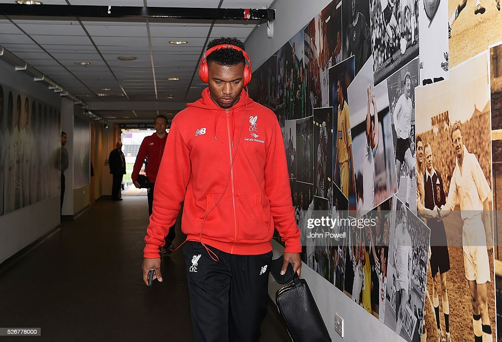 Daniel Sturridge of Liverpool arrives before a Premier League match between Swansea City and Liverpool at the Liberty Stadium on May 01, 2016 in Swansea, Wales.