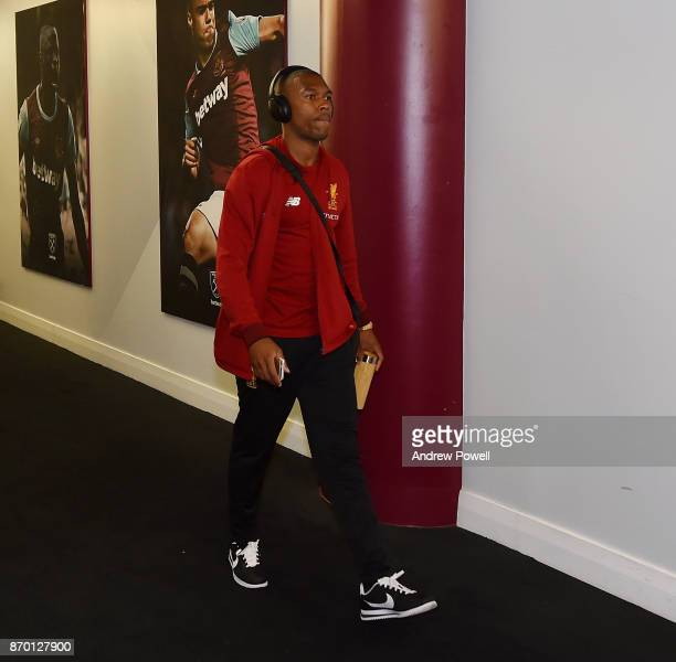 Daniel Sturridge of Liverpool arrives before the Premier League match between West Ham United and Liverpool at London Stadium on November 4 2017 in...