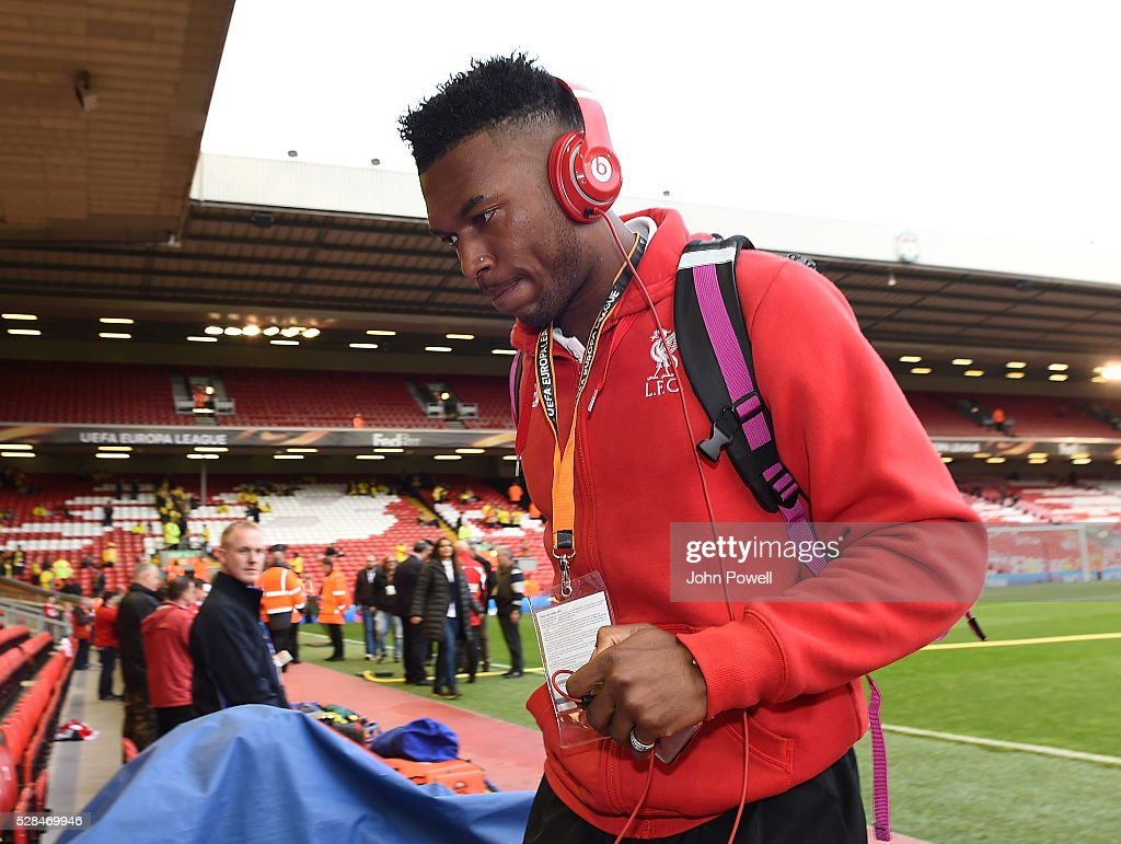 <a gi-track='captionPersonalityLinkClicked' href=/galleries/search?phrase=Daniel+Sturridge&family=editorial&specificpeople=677270 ng-click='$event.stopPropagation()'>Daniel Sturridge</a> of Liverpool arrives before the UEFA Europa League Semi Final: Second Leg match between Liverpool and Villarreal CF at Anfield on May 05, 2016 in Liverpool, England.