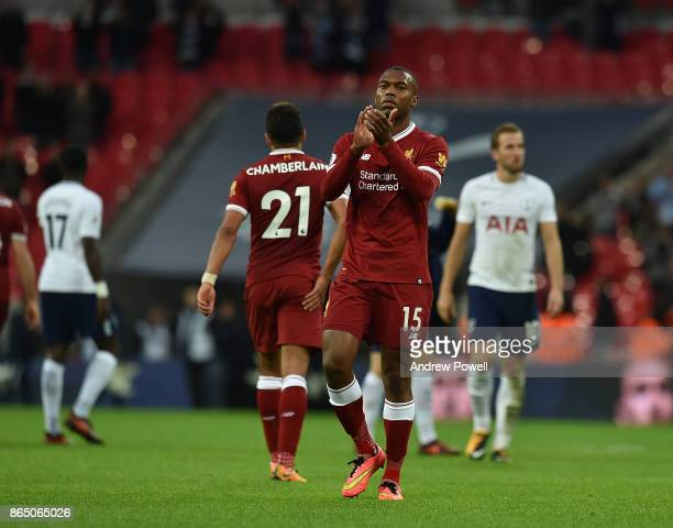 Daniel Sturridge of Liverpool at the end of the Premier League match between Tottenham Hotspur and Liverpool at Wembley Stadium on October 22 2017 in...