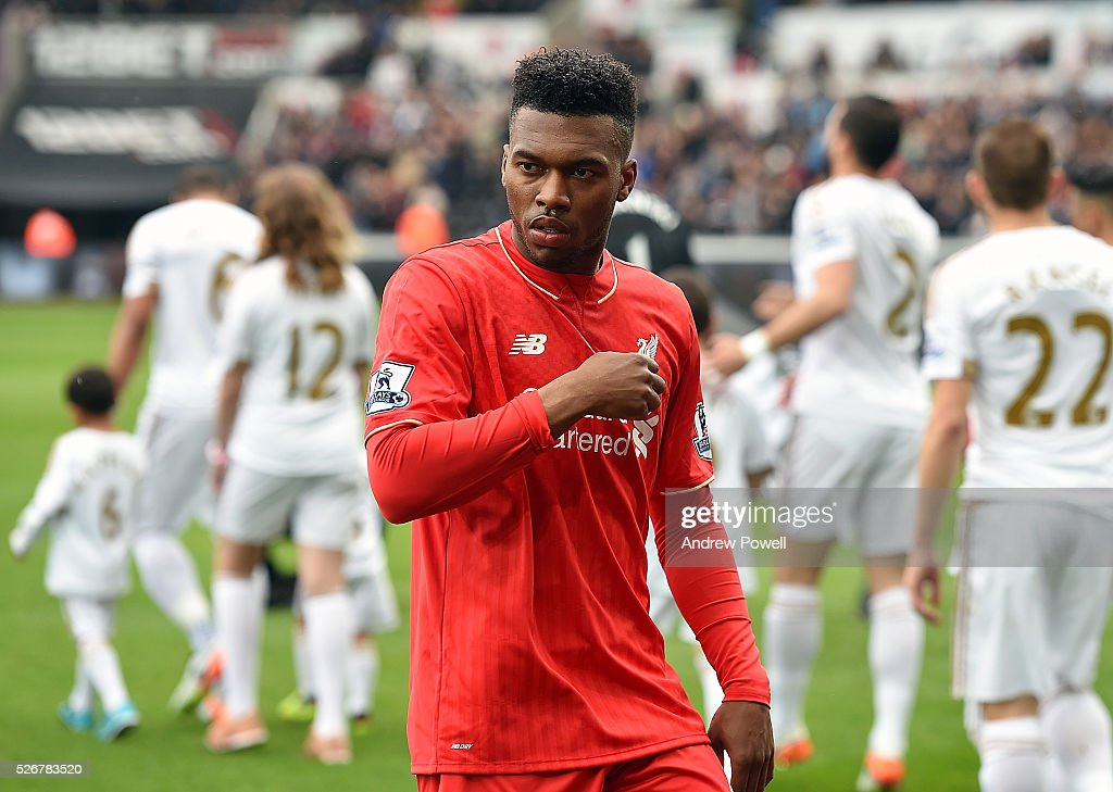 <a gi-track='captionPersonalityLinkClicked' href=/galleries/search?phrase=Daniel+Sturridge&family=editorial&specificpeople=677270 ng-click='$event.stopPropagation()'>Daniel Sturridge</a> of Liverpool before a Premier League match between Swansea City and Liverpool at the Liberty Stadium on May 01, 2016 in Swansea, Wales.