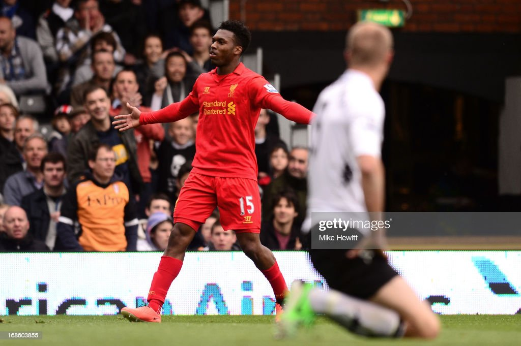 Daniel Sturridge of Liverpool celebrates after scoring a goal to level the scores at 1-1 during the Barclays Premier League match between Fulham and Liverpool at Craven Cottage on May 12, 2013 in London, England.
