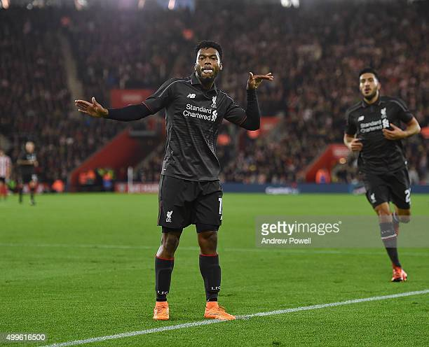 Daniel Sturridge of Liverpool celebrates after scoring an equalising goal during the Capital One Cup Quarter Final match between Southampton and...