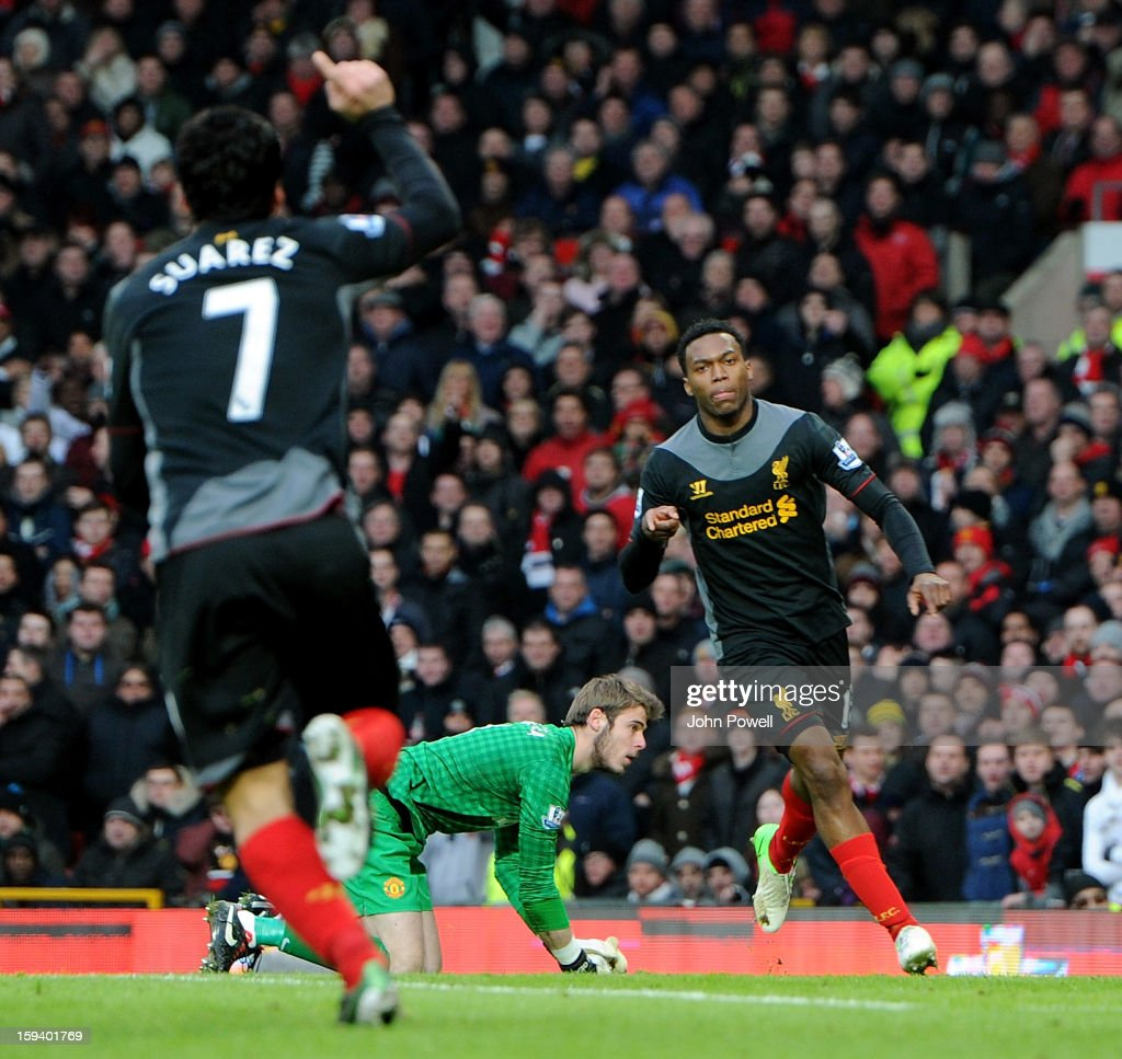 <a gi-track='captionPersonalityLinkClicked' href=/galleries/search?phrase=Daniel+Sturridge&family=editorial&specificpeople=677270 ng-click='$event.stopPropagation()'>Daniel Sturridge</a> of Liverpool celebrates after scoring during the Barclays Premier League match between Manchester United and Liverpool at Old Trafford on January 13, 2013 in Manchester, England.