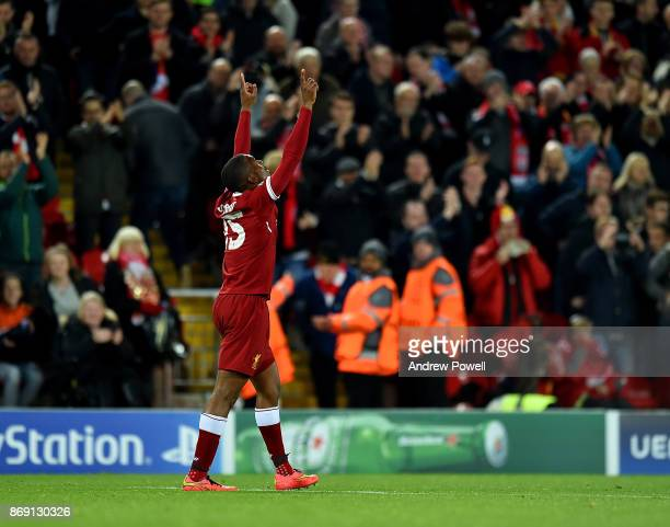 Daniel Sturridge of Liverpool celebrates after scoring during the UEFA Champions League group E match between Liverpool FC and NK Maribor at Anfield...